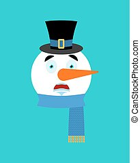 Snowman scared emotion avatar. fear emoji face. New Year and Christmas vector illustration