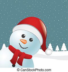 snowman scarf santa claus hat winter landscape