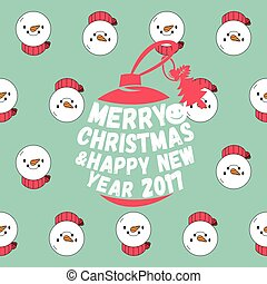 Snowman seamless pattern with merry christmas text. Christmas background.