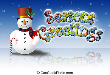 Illustration of Snowman with Top Hat on Ice with colorful Seasons Greetings Lettering