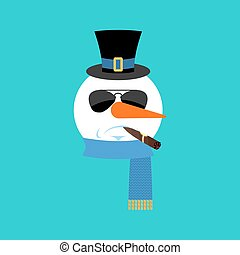 Snowman Serious with cigar emoji face emotion avatar. New Year and Christmas vector illustration