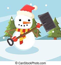 snowman shoveling snowdrift colorful