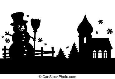 Snowman silhouette theme image 2