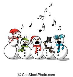 Snowman singing -choir, christmas carol isolated on white...
