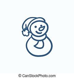 Snowman sketch icon.