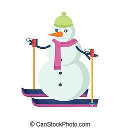 Snowman Skiing in Green Hat and Pink Scarf