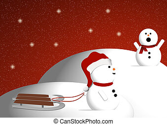 Snowman being called by his friend for sledding down a hill