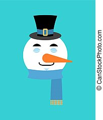 Snowman sleeping emotion avatar. sleep emoji face. New Year and Christmas vector illustration