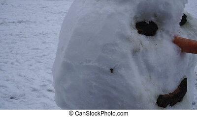 Snowman. Snowman with children