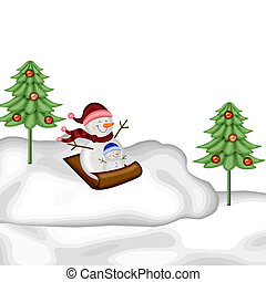 snowmen on a sled in the snow