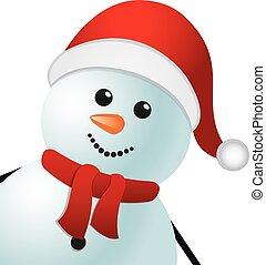 snowman, sombrero rojo