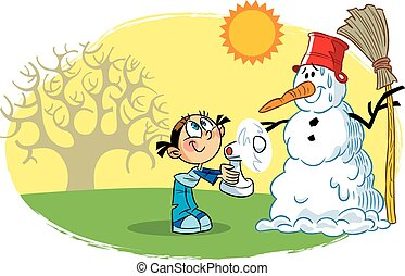 snowman spring - The illustration shows a child, who is...
