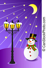Snowman stands under a street lamp