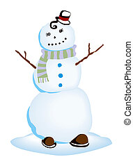 Snowman Illustration with Clipping Path