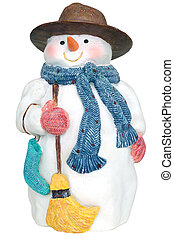 snowman figurine isolated on white
