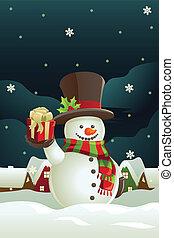 snowman, tenencia, presente navidad