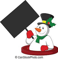 snowman, tenencia, un, blanco, bandera