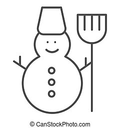 Snowman thin line icon. Snow vector illustration isolated on white. Winter outline style design, designed for web and app. Eps 10.