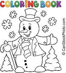 snowman, topic, 1, libro colorear