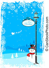 illustration of snowman under lamp post in christmas night with santa flying in sledge