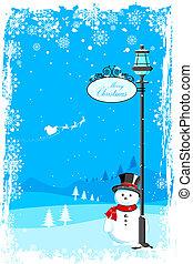 Snowman under lamp post - illustration of snowman under lamp...