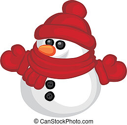 Snowman - Vector illustration of funny snowman