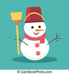 Snowman vector illustration on background