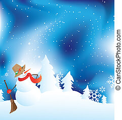 Snowman vector illustration with beautiful snowy sky and pine trees behind small houses