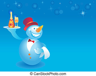 Snowman-waiter with champagne on blue