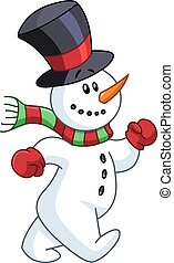 Snowman walking - Cheerful snowman walking