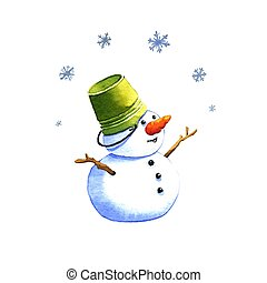 Snowman, watercolor illustration