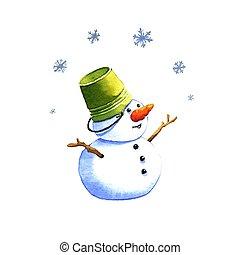 Snowman, watercolor illustration