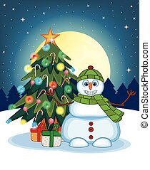 Snowman Wearing A Green Hat
