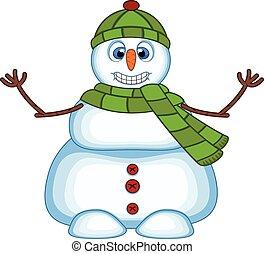 Snowman wearing a green hat, scraft