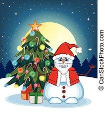 Snowman Wearing A Santa Claus