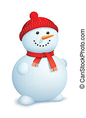 Snowman wearing scarf - illustration of snowman wearing...