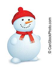 Snowman wearing scarf - illustration of snowman wearing...