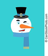 Snowman winking emotion avatar.  happy emoji face. New Year and Christmas vector illustration