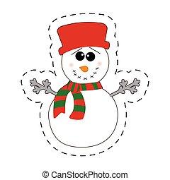 snowman winter decorative cut line vector illustraiton eps...