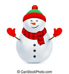 Snowman with a beanie hat and red gloves.