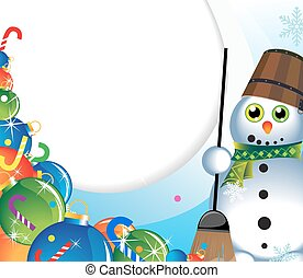 Snowman with a broom and Christmas-tree decorations