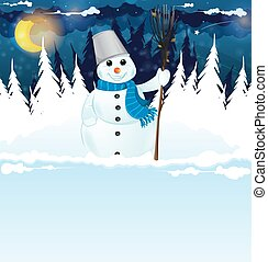 Snowman with a broom in the snowy woods. Winter Night Scene