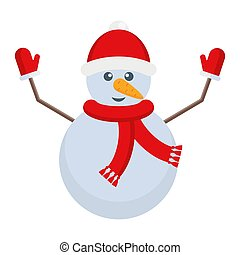 Snowman with a carrot nose and a hat on his head. Christmas character. Flat cartoon illustration isolated on white background.