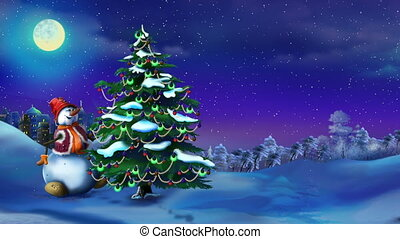 Snowman with a Christmas Tree in a Fairy Tale New Year...