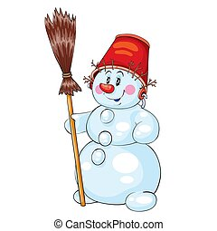 snowman with a red bucket on his head and a broom in his hands, isolated object on a white background, vector illustration,