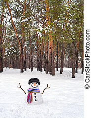 Snowman with a scarf in the forest