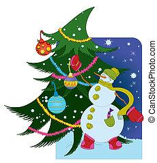 Snowman with ball and Christmas tree