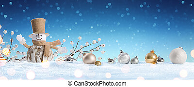 Snowman With Baubles On Snow