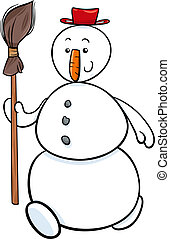 snowman with besom cartoon illustration