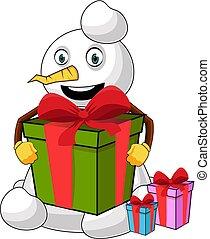 Snowman with big present - illustration